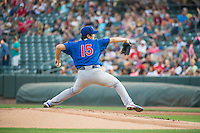 Iowa Cubs starting pitcher Tsuyoshi Wada (15) delivers a pitch to the plate against the Salt Lake Bees in Pacific Coast League action at Smith's Ballpark on August 21, 2015 in Salt Lake City, Utah.  (Stephen Smith/Four Seam Images)