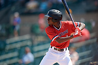 Rochester Red Wings shortstop Nick Gordon (1) at bat during a game against the Lehigh Valley IronPigs on July 1, 2018 at Frontier Field in Rochester, New York.  Rochester defeated Lehigh Valley 7-6.  (Mike Janes/Four Seam Images)