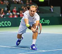 Switserland, Genève, September 19, 2015, Tennis,   Davis Cup, Switserland-Netherlands, Thiemo de Bakker (NED)<br /> Photo: Tennisimages/Henk Koster