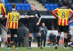St Johnstone v Partick Thistle...29.03.14    SPFL<br /> Referee Craig Thomson<br /> Picture by Graeme Hart.<br /> Copyright Perthshire Picture Agency<br /> Tel: 01738 623350  Mobile: 07990 594431