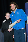 St Johnstone FC Youth Academy Presentation Night at Perth Concert Hall..21.04.14<br /> Stevie May presents to Rory Lamond<br /> Picture by Graeme Hart.<br /> Copyright Perthshire Picture Agency<br /> Tel: 01738 623350  Mobile: 07990 594431