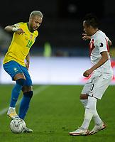 5th July 2021; Nilton Santos Stadium, Rio de Janeiro, Brazil; Copa America, Brazil versus Peru; Neymar of Brazil takes on Christian Cueva of Peru