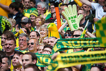 Norwich City 2 Middlesbrough 0, 25/05/2015. Wembley Stadium, Championship Play Off Final. Norwich support in the sunshine ahead of a match worth £120m to the victors. On the day Norwich City secured an instant return to the Premier League with victory over Middlesbrough in front of 85,656. Photo by Simon Gill.