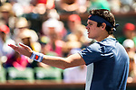 March 16, 2019: Milos Raonic (CAN) in action where he was defeated by Dominic Thiem (AUT) 7-6, 6-7, 6-4 in the semifinals at the BNP Paribas Open at the Indian Wells Tennis Garden in Indian Wells, California. ©Mal Taam/TennisClix/CSM