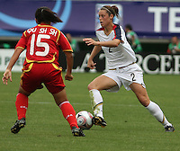 Chile, Temuco: Usa defender Kaley Fountain (R) goes for the ball along with Qu Shanshan (L) Chine´s team, during the final match on the group, Fifa U-20 Womens World Cup the at German Becker stadium in Temuco , on November 26 2008. Photo by Grosnia/ISIphotos.com