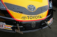 Jul. 27, 2013; Sonoma, CA, USA: Detailed view of the newly designed dual body latch system on the front of the car of NHRA funny car driver Del Worsham during qualifying for the Sonoma Nationals at Sonoma Raceway. Mandatory Credit: Mark J. Rebilas-