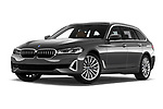 Stock pictures of low aggressive front three quarter view of 2021 BMW 5-Series Luxury 5 Door Wagon Low Aggressive