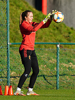 20200911 - TUBIZE , Belgium : Goalkeeper Lisa Lichtfus pictured during the training session of the Belgian Women's National Team, Red Flames ahead of the Women's Euro Qualifier match against Switzerland, on the 28th of November 2020 at Proximus Basecamp. PHOTO: SEVIL OKTEM   SPORTPIX.BE