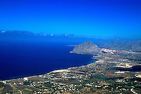 An aerial view of the landscape of Erice, Sicily, Italy..