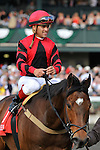 Perfect Officer (red) trained by Anthony Dutrow and ridden by Javier Castellano catches Great Mills near the wire to win the G3 Shakertown Stakes at Keeneland Race Course in Lexington, Kentucky Saturday April 14, 2012. (Eric Patterson/ Eclipse Sportswire)