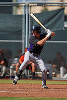 Colorado Rockies Jordan Patterson (28) during an instructional league game against the San Francisco Giants on October 7, 2015 at the Giants Baseball Complex in Scottsdale, Arizona.  (Mike Janes/Four Seam Images)