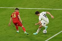 2nd July 2021; Allianz Arena, Munich, Germany; European Football Championships, Euro 2020 quarterfinals, Belgium versus Italy; Federico Chiesa Italy covered by Thorgan Hazard Belgium