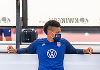 HOUSTON, TX - JUNE 12: Adrianna Franch #21 of the USWNT sits on the bench before a training session at University of Houston on June 12, 2021 in Houston, Texas.
