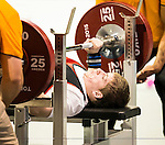 Toronto, ON - Aug 9 2015 - Dylan Sparks competes in men's up to 59kg powerlifting at the Mississauga Sports Centre during the Parapan Am Games.