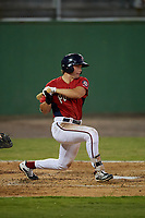 Potomac Nationals Jack Sundberg (14) hits a single during a Carolina League game against the Myrtle Beach Pelicans on August 14, 2019 at Northwest Federal Field at Pfitzner Stadium in Woodbridge, Virginia.  Potomac defeated Myrtle Beach 7-0.  (Mike Janes/Four Seam Images)