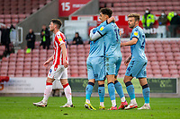 21st April 2021; Bet365 Stadium, Stoke, Staffordshire, England; English Football League Championship Football, Stoke City versus Coventry; Coventry celebrate a 43rd minute goal by Tyler Walker to put them ahead 1-0