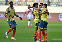 LIMA,PERÚ,09-06-2019:Mateus Uribe jugador de Colombia celebra su gol con Juan Cuadrado y Falcao Garcia contra la selección del Perú durante   partido amistoso de preparación para la Copa América de Brasil 2019 jugado en el estadio Monumental de Lima la ciudad de Lima./Colombia's Mateus Uribe celebrates his goal with Juan Cuadrado and Falcao Garcia against the Peru team during a friendly match in preparation for the 2019 Copa América of Brazil played at Lima's Monumental Stadium in Lima. Photo: VizzorImage / Cristian Alvarez / FCF