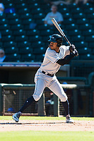 Peoria Javelinas left fielder Buddy Reed (85), of the San Diego Padres organization, at bat during an Arizona Fall League game against the Surprise Saguaros at Surprise Stadium on October 17, 2018 in Surprise, Arizona. (Zachary Lucy/Four Seam Images)