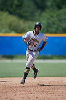 GCL Pirates right fielder Jeremias Portorreal (16) rounds the bases after hitting a grand slam home run in the top of the eleventh inning during a game against the GCL Blue Jays on July 20, 2017 at Bobby Mattick Training Center at Englebert Complex in Dunedin, Florida.  GCL Pirates defeated the GCL Blue Jays 11-6 in eleven innings.  (Mike Janes/Four Seam Images)