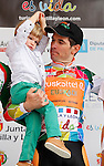 Pablo Urtasun (Euskaltel Euskadi team) with his son celebrates winning the first stage of the Castilla and Leon 2013 Cycling Tour. The first stage of the 28th tour took place from Arevalo (Avila) to Valladolid. April 12, 2013. Valladolid, Spain. (Alterphotos/Victor J Blanco)