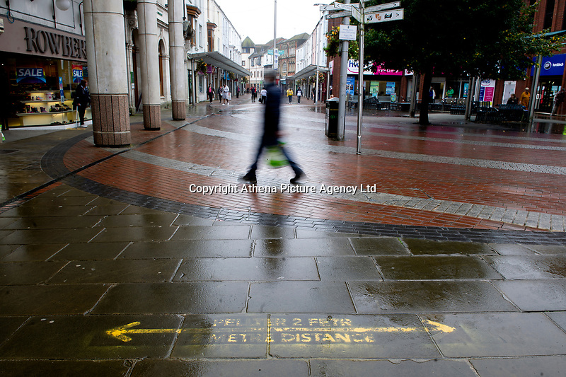 Pictured: A general view of Llanelli Town Centre, Llanelli, Wales, UK. Sunday 27 September 2020<br /> Re: Local lockdown will be in force from 6pm on the 27th of September, due to the Covid-19 Coronavirus pandemic, in Llanelli, Wales, UK