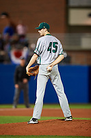 Siena Saints relief pitcher Tom Sutera (45) looks in for the sign during a game against the Florida Gators on February 16, 2018 at Alfred A. McKethan Stadium in Gainesville, Florida.  Florida defeated Siena 7-1.  (Mike Janes/Four Seam Images)