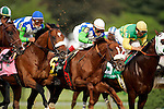 The horses race down the front stretch just after the start during the 132nd running of the Kentucky Derby at Churchill Downs in Louisville, Kentucky on May 6, 2006.  Barbaro, ridden by Edgar Prado (second from left, blue cap), won the race....