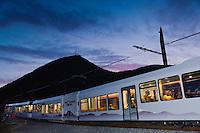 Europe/France/Auverne/63/Puy-de-Dôme/Parc Naturel Régional des Volcans:Train Panoramique des Dômes, Train à crémaillère qui  conduit au sommet du Puy-de-Dôme (1465 mètres) // Europe, France, Auverne, Puy-de-Dôme, Regional Park of Auvergne Volcanoes: The puy de Dôme rack railway