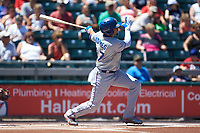 Willy Adames (27) of the Durham Bulls follows through on his swing against the Lehigh Valley Iron Pigs at Coca-Cola Park on July 30, 2017 in Allentown, Pennsylvania.  The Bulls defeated the IronPigs 8-2.  (Brian Westerholt/Four Seam Images)