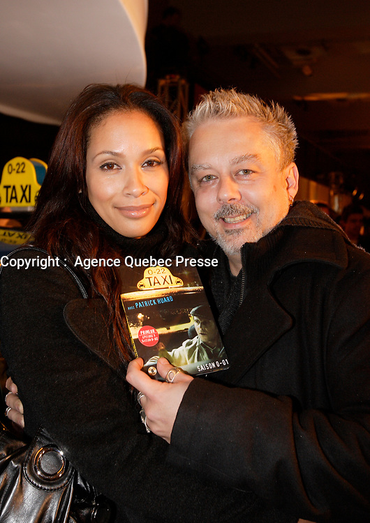 Montreal (Qc) CANADA- November 14, 2007 -<br /> Erik Canuel (R) and wife,<br /> Launch of  Taxi 2.20 - season 1  DVD at Bonsecour Market.<br /> <br /> photo (c) Pierre Roussel -   Images Distribution