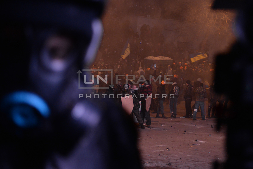 The crowd  waves an EU flag in sign of  protest against new draconian law to ban protestsacross the country.  Kiev. Ukraine