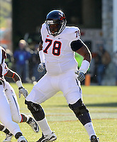 Nov 27, 2010; Charlottesville, VA, USA;  Virginia Cavaliers offensive tackle Morgan Moses (78) during the game at Lane Stadium. Virginia Tech won 37-7. Mandatory Credit: Andrew Shurtleff