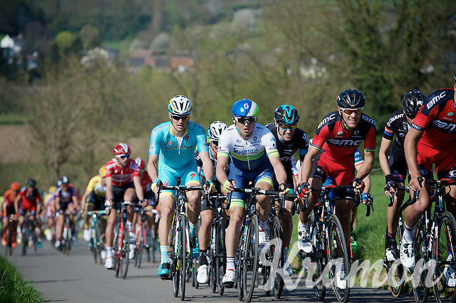 Simon Gerrans (AUS/Orica-GreenEDGE) in the mix with Philippe Gilbert (BEL/BMC) & Jakob Fuglsang (DEN/Astana) up the steepest climb of the day: Keutenberg (22%)<br /> <br /> 50th Amstel Gold Race 2015