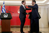 Greek Prime Alexis Tsipras with Northern Macedonian Prime Minister Zoran Zaev