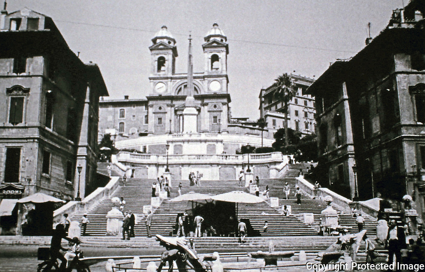 The Spanish Steps in Rome, Italy designed by architects Francesco de Sanctis and Alessandro Specchi, 1723-25. Tourist attraction.