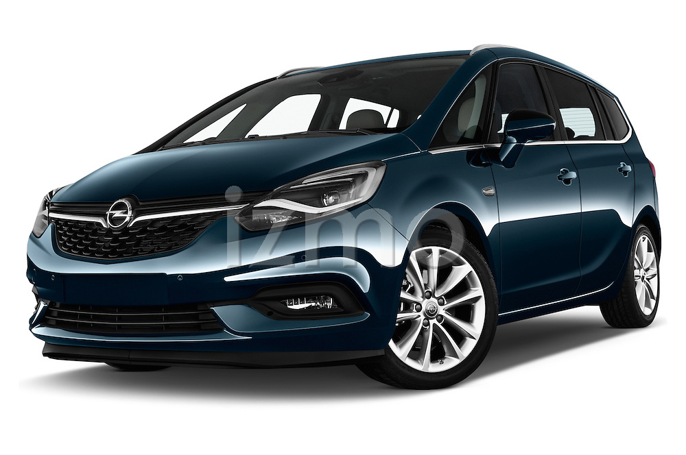 Stock pictures of low aggressive front three quarter view of 2017 Opel Zafira Innovation 5 Door Mini MPV Low Aggressive