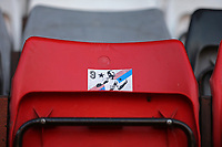 a sticker on the away fans chair during Charlton Athletic vs Plymouth Argyle, Emirates FA Cup Football at The Valley on 7th November 2020