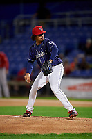 Binghamton Rumble Ponies starting pitcher Harol Gonzalez (18) delivers a pitch during a game against the Portland Sea Dogs on August 31, 2018 at NYSEG Stadium in Binghamton, New York.  Portland defeated Binghamton 4-1.  (Mike Janes/Four Seam Images)