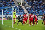 Szene aus dem Spiel SV Waldhof - Türkgücü München beim Spiel in der 3. Liga, SV Waldhof Mannheim - Türgücü München.<br /> <br /> Foto © PIX-Sportfotos *** Foto ist honorarpflichtig! *** Auf Anfrage in hoeherer Qualitaet/Aufloesung. Belegexemplar erbeten. Veroeffentlichung ausschliesslich fuer journalistisch-publizistische Zwecke. For editorial use only. DFL regulations prohibit any use of photographs as image sequences and/or quasi-video.