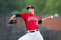 Hickory Crawdads pitcher Brett Martin (10) in action against the West Virginia Power at L.P. Frans Stadium on August 15, 2015 in Hickory, North Carolina.  The Power defeated the Crawdads 9-0.  (Brian Westerholt/Four Seam Images)