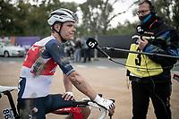 Jasper Stuyven (BEL/Trek-Segafredo) showing his scars post-finish<br /> <br /> 104th Ronde van Vlaanderen 2020 (1.UWT)<br /> 1 day race from Antwerpen to Oudenaarde (BEL/243km) <br /> <br /> ©kramon