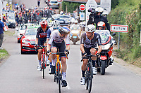 2nd July 2021; Le Creusot, France; MOHORIC Matej (SLO) of BAHRAIN VICTORIOUS and CAMPENAERTS Victor (BEL) of TEAM QHUBEKA ASSOS talking during stage 7 of the 108th edition of the 2021 Tour de France cycling race, a stage of 248,1 kms between Vierzon and Le Creusot