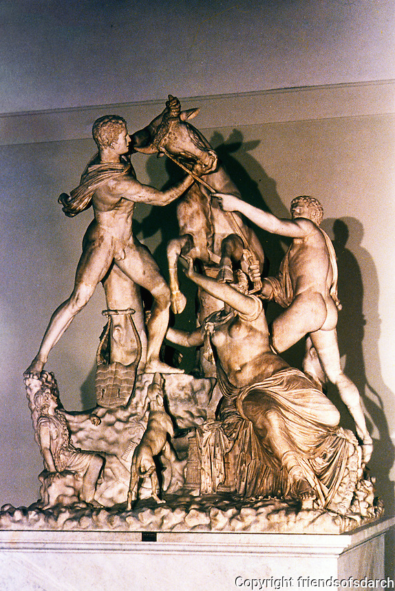 Italy: Rome--Baths of Caracalla. Sculpture of Farnese Bull. 2nd C. AD copy of 1st C. BC work. 4 meters high. Photo '83.