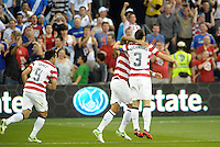 U.S players celebrate their opening goal..USMNT defeated Guatemala 3-1 in World Cup qualifying play at LIVESTRONG Sporting Park, Kansas City, KS.