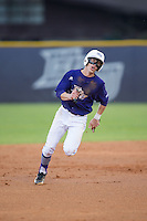 Chris Clare (9) of the High Point Panthers hustles towards third base against the Davidson Wildcats at Willard Stadium on March 24, 2015 in High Point, North Carolina.  The Panthers defeated the Wildcats 15-2.  (Brian Westerholt/Four Seam Images)