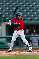Fort Wayne TinCaps Jawuan Harris (2) at bat during a Midwest League game against the Fort Wayne TinCaps at Parkview Field on April 30, 2019 in Fort Wayne, Indiana. Kane County defeated Fort Wayne 7-4. (Zachary Lucy/Four Seam Images)