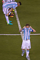 Action photo during the match Argentina vs Chile corresponding to the Final of America Cup Centenary 2016, at MetLife Stadium.<br /> <br /> Foto durante al partido Argentina vs Chile cprresponidente a la Final de la Copa America Centenario USA 2016 en el Estadio MetLife , en la foto:Lionel Messi<br /> <br /> <br /> 26/06/2016/MEXSPORT/JAVIER RAMIREZ