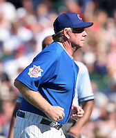 Chicago Cubs manager Larry Rothschild during a game against the New York Mets at Wrigley Field on July 15, 2006 in Chicago, Illinois.  (Mike Janes/Four Seam Images)