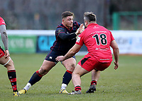 Pete Austin of London Scottish blocks during the Greene King IPA Championship match between London Scottish Football Club and Jersey at Richmond Athletic Ground, Richmond, United Kingdom on 16 December 2017. Photo by Mark Kerton / PRiME Media Images.
