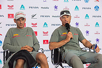13th March 2021; Waitemata Harbour, Auckland, New Zealand;  Luna Rossa Prada Pirelli Team helmsmen Francesco Bruni and Jimmy Spihill at the post race press conference on day three of the America's Cup presented by Prada.